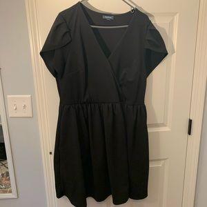 Fit & Flare Black Vneck Dress